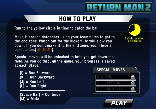 Return Man 2 how to play